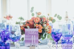 Vintage table decor featuring Ranunculus at Chelsea Piers.